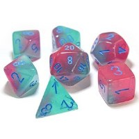 Chessex Polyhedral 7-Die Set Gel Green-Pink/Blue