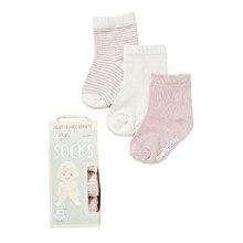 0-3 Month Chalk/Rose Socks