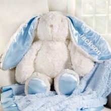 Blue Plush Minky Rabbit