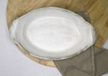 Charming White Oval Baker with Handles