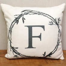 Twig Initial F Pillow