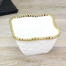 White Gold Square Snack Bowl