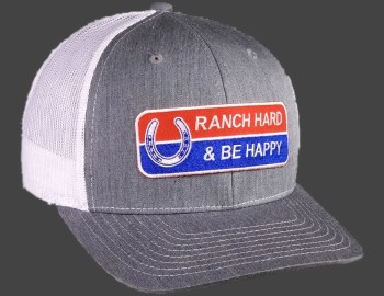 Ranch Hard Be Happy Silver/White Mesh Precurved