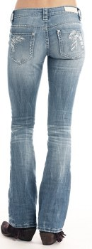 Rock and Roll Denim Feather Embroidered Boot Cut Jeans