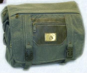 The Prairie Schooner Green w/ Brown Trim Canvas Shoulder Bag