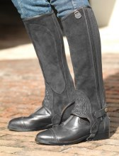 Black Suede Half Chaps Small