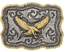Montana Silversmiths Classic Impressiosn Two Tone Twisted Rope and Pinpoints Attitude Soaring Eagle Buckle