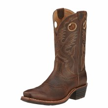 Ariat Heritage Roughstock Western Boot Brown Oiled Rowdy 9 D