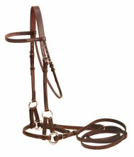 Tory Bridle Leather Side Pull with 5/8 English Reins