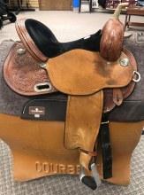 """Circle Y Lisa Lockhart Dynamo Barrel Saddle 14.5"""" Used"""
