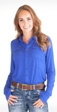 Cowgirl Tuff Co. Blue Sport Jersey Pullover X Small