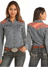 Denim Long Sleeve with Serape Small