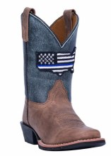 Dan Post Youth Thin Blue Line Leather Boot Sz 4