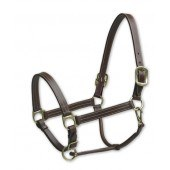 Brown Leather Triple Stitch Halter Horse Size