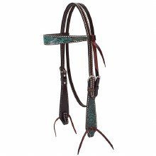 Turquoise Cross Carved Turquoise Flower Browband Headstall