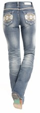 Rock and Roll Aztec Embroidered Boot Cut Stretch Jeans 27X32