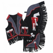Youth Black/Red Vest and Chap Set