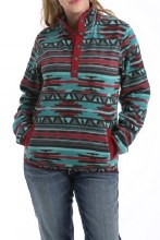 Cinch Polar Fleece Pullover Teal/Burgundy