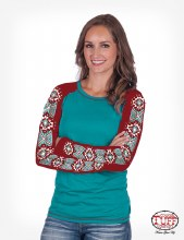 Cowgirl Tuff Turquoise & Red Raglan Long Sleeve Tee with Aztec Print
