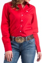 Cinch Ladies Red Button Down XLarge