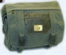 Green w/ Brown Trim Canvas Shoulder Bag