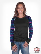 Cowgirl Tuff Black & Serape Raglan Long Sleeve Tee