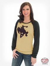 Cowgirl Tuff Honey and Black Wild & Wooly Long Sleeve Raglan Tee