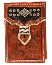 Overlay w/ Diamond Concho Tri-Fold Wallet