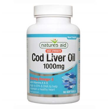 Nature's Aid High Strength Cod Liver Oil 1000mg 90 Capsules