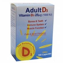 Shield Health Adult Vitamin D3 25ug 1000IU (100 Capsules)