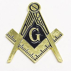 Gold Square & Compass Die-cut Auto Emblem