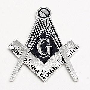 Silver Square & Compass Die-cut Auto Emblem