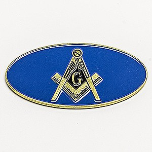 Oval Blue Lodge Auto Emblem in Blue