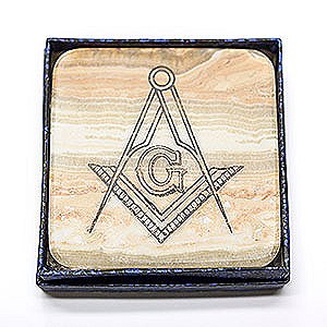 Set of 4 Alabaster Coasters with Square & Compass Imprint!