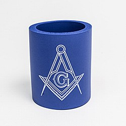 Coozie with Square & Compass -  Blue