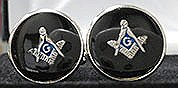 Round Masonic Cuff Links in Black and Silvertone