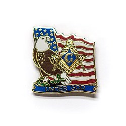 American Flag & Square and Compass Lapel Pin