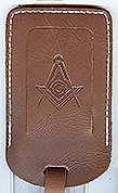 Masonic Luggage Tag in Brown Leather
