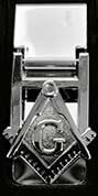 Masonic Silver Tone Money Clip