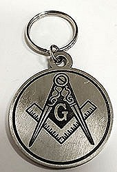 Pewter Square and Compass Key Ring