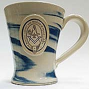 Stoneware mug blue swirl