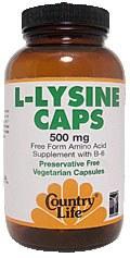 Country Life L-Lysine Caps with B-6 500 milligrams 250 vegetarian capsules