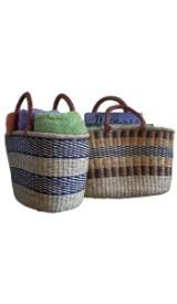 Alaffia Oval Handwoven Grass Basket