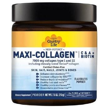 Country Life Maxi-Collagen C & A + Biotin, 7.5 oz.