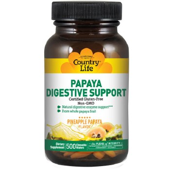 Country Life Papaya Digestive Support, 500 chewable wafers