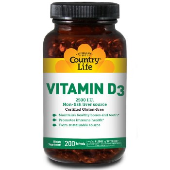 Country Life Vitamin D3 2500 IU, 200 soft gels