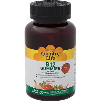Country Life Strawberry Flavored B12 Gummies 850 mcg, 60 gummies