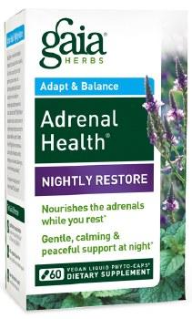 Gaia Herbs Adrenal Health Nightly Restore, 60 vegan liquid phyto-caps