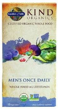 Garden of Life Kind Organics Men's Once Daily Whole Food Multivitamin, 60 vegan tablets