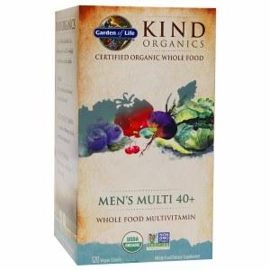 Garden of Life Kind Organics Men's Multi 40+ Whole Food Multivitamin, 120 vegan Tablets